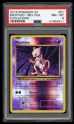 2016 Pokemon XY Evolutions 51 Mewtwo-Reverse Foil-PSA 8 NEAR MINT-MINT