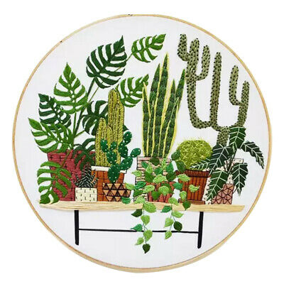 DIY Stamped Embroidery Kit with Hoop, Cloth, Threads Handmade Needle Crafts