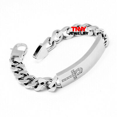 "9"" Men's Fashion Stainless Steel Silver 14mm CZ Ankh Cross Bracelet Bangle Chain"