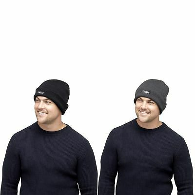 91bcf2f7444 New Mens Thermal Thinsulate Fleece Lined Beanie Hat Mens winter hat BLACK  GREY