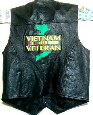 Vietnam Veteran USA Leather Mens Black Leather Embroidered Patches Vest Sz XL