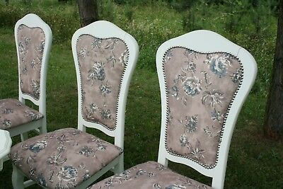 SILVER VELVET Shabby Chic Table and 6 Chairs Italian Dining French Louis