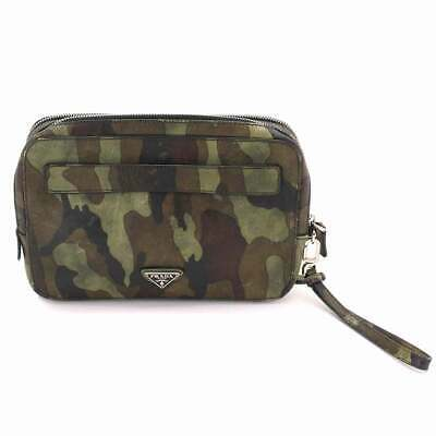 8b7354cce99e70 PRADA Clutch Bag Saffiano Leather Camouflage Green Brown Black VR0052  90071374