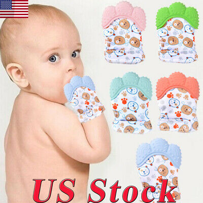 Baby Silicone Mitts Teething Mitten Teething Molar Glove Wrapper Safe Teether US