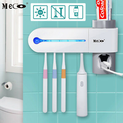 MECO UV Toothbrush Sterilizer 5 Holders Wall Mount Auto Toothpaste Dispenser