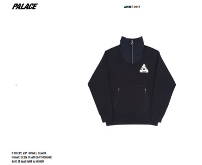 e779184be4e4 Palace Skateboards P Crepe Zip Funnel Black Size SMALL S Sweatshirt FW17  AUTHENT