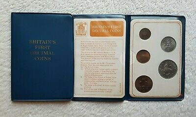 Britain's First Decimal Coin Set/Uncirculated/X2/UK/GB/QEII/Gift/Collectors).