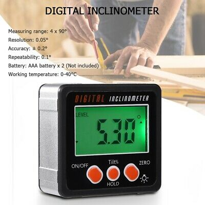 US Digital LCD Protractor Gauge Angle Finder Bevel Level Box Inclinometer Meter