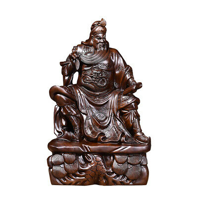 40cm,,Ebony Wood Chinese Guan Gong Yu sit,Warrior Guangong Statue Carved WOODEN