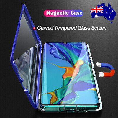 For Huawei P30 Pro 360° Magnetic Metal + Curved Double Tempered Glass Case Cover