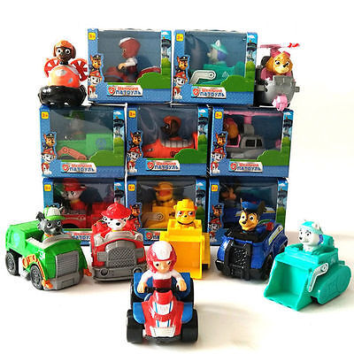 Set of 8Pcs Paw Patrol Racer Chase Everest Ryder Figure Plush Skye Character Toy