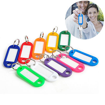 Pack 100 KEY TAGS Assorted Coloured Plastic Rings for ID Tags Card Label Car US