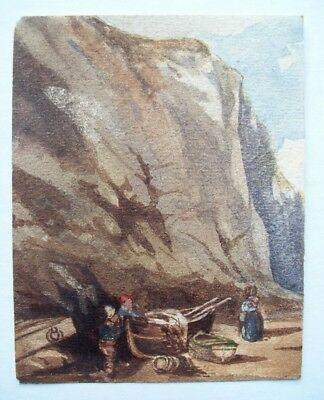FINE SMALL ORIGINAL 19th CENTURY WATERCOLOR  - FIGURES ON BEACH BY CLIFFS