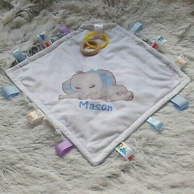 Personalised Minky Tag Blanky Blanket Elephant Toy Comforter with Dummy Clip