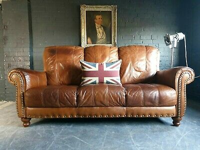 2026.Chesterfield Leather vintage & distressed 3 Seater Sofa tan brown Courier.