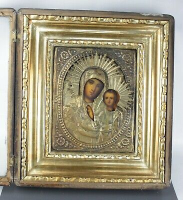 Antique Icon Mother of God Orthodox Russian Empire Wood Oil Boxframe!