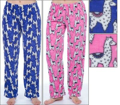 Girls Llama Design Soft & Cosy Fleece Lounge Pants/Pyjama Bottoms - Ages 5-14