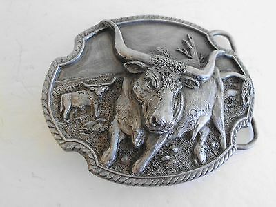 BELT BUCKLE CATTLE LONG HORN VINTAGE MADE IN USA 1989 NOS 3D dpa