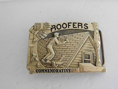 Belt Buckle Roofers Commemorative 1984 Vintage Solid Brass Baron Maker Zal