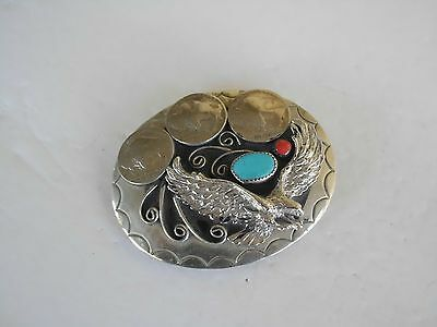 Belt Buckle Eagle Southwest 3 Nickles 1-Turquoise,1-Coral, Made In Usa G-25 Lux