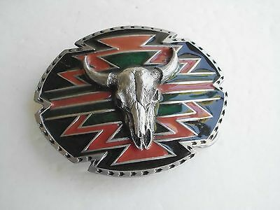 Belt Buckle Skull Vintage Cowboy Inlay 3-D Native Western Made In Usa Na-8 Mzp