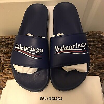 7fbdf9bd07ca NEW BALENCIAGA Logo Blue Leather Flat Pool Slides Sandals Sz 9 Or 9.5 US    43