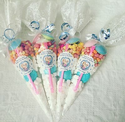 5 X Frozen Themed Pre Filled Party Cones personalised + free Sweety Bag
