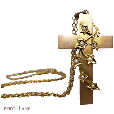 Antique EDWARDIAN 9K Gold IVY LEAF Seed Pearl CROSS PENDANT with 9K NECKLACE