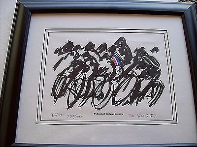 "Woodcut Print ""Esprit"" By Tom Flowers Signed Numbered 2007 Limited Ed Cyclist"