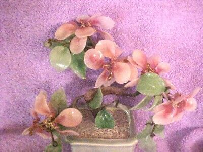 BEAUTIFUL, Vintage Chinese Asian Glass Pink Blossom Flower Bonsai Tree in Pot