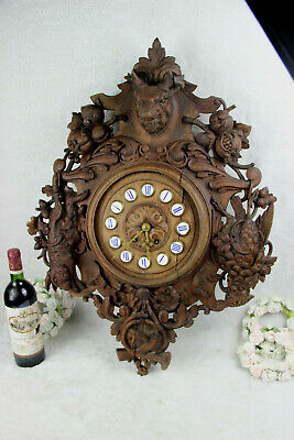 XL Antique BLACK FOREST wood carved wall clock hunt bird deer horn floral