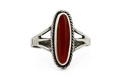 Red Carnelian Oval Stone Ring Size 6, Antique 1940s Jewelry, 925 Sterling Silver