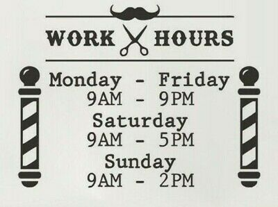 Barber Shop Opening Times Custom Business Work Hours Vinyl Wall Decals Windows