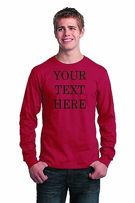Custom Personalized Long Sleeve T-shirt Your Text Printed Front or Back