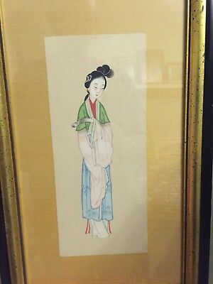 Antique Japanese Watercolor on Silk of Geisha Girl Framed Under Glass 17.5x11 In