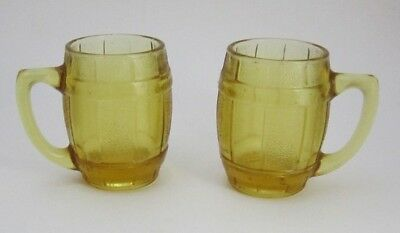 Vintage Amber Glass Barrel Shot Glass Mug With Handle Toothpick Holder Lot of 2