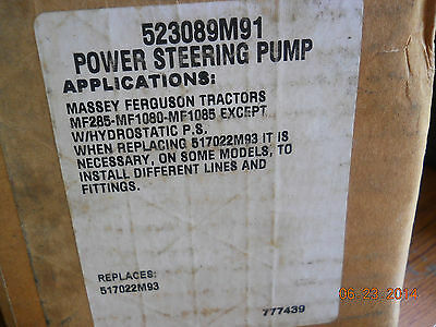 massey power steering pump 523089m91