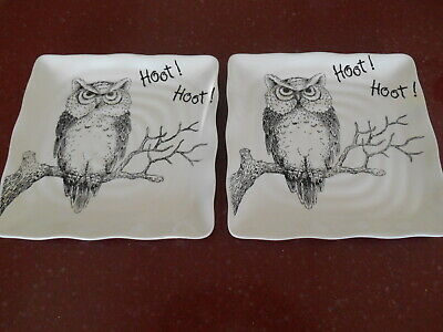 4 MAXCERA Hoot Black & White Owl Dinnerware Square Salad Plates Fall Halloween