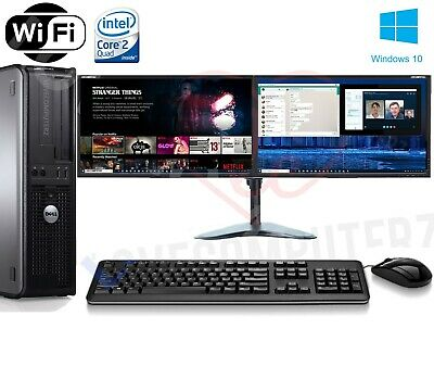 Fast Dell Quad Core Pc Computer Desktop Tower Windows 10 Wifi Dual Screen Pc