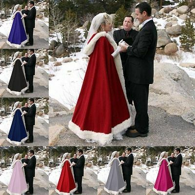 Faux Fur Shawl with Muff Winter Bridal Cape Christmas Cloaks Jackets Hooded Perf