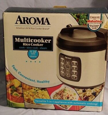 Aroma Multicooker Rice Cooker 4-20 Cups Cooked 4 Quarts ARC-103OSB-N.O*