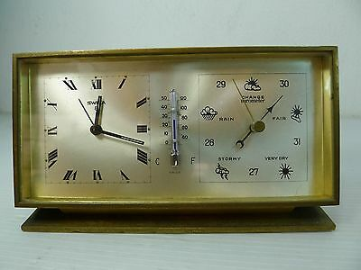 A Swiss Made Solid Brass Mechanical Shelf/table Alarm Clock And Weather Station