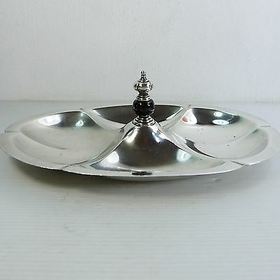 AN ANTIQUE/VINTAGE SOLID STERLING SILVER TRAY 25.5 cm. LONG & WEIGHTS 254 gr.