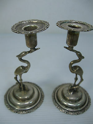 An Old Beautiful Rare Pair Of Silver Swans Candle Stick Holders