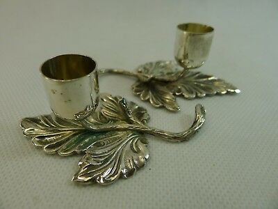 antique/vintage pair of Italian silver leaf shaped candle stick holders