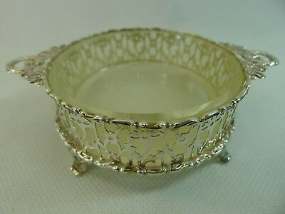 antique English sterling silver & glass bowl / dish