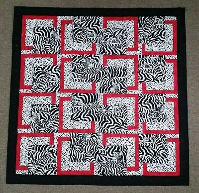 Handmade Zebra Baby Quilt Black White Red Brain High Contrast Stimulating Colors