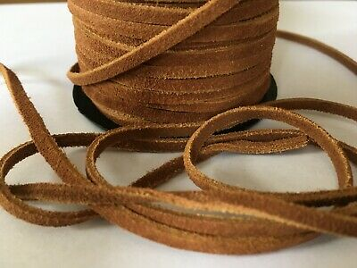 3mm Flat Leather Thong Cord - Brown - Per metre