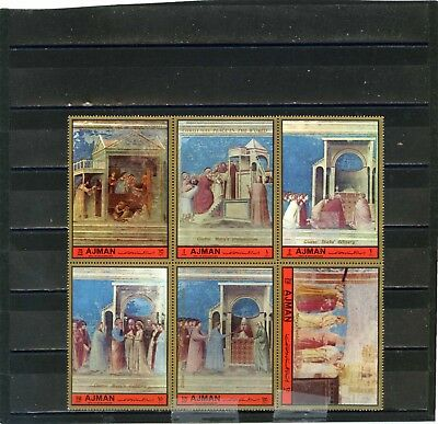 AJMAN 1972 Mi#1705-1710A PAINTINGS BY GIOTTO SHEET OF 6 STAMPS PERF. MNH