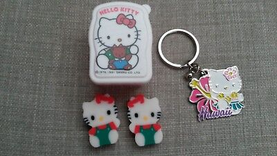Vintage Sanrio Hello Kitty 1991 erasers with box case Hawaii Keychain 2012 Lot